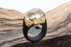 SALE-10% Wooden ring Golden Mountains GreenWood. Wooden resin ring. Wood ring. Magic ring. Resin ring. Resin wood