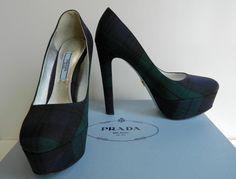 Prada Pumps Tartan Platform Shoes Navy Green Plaid High Heel $750 NIB #PRADA #PumpsPlatform