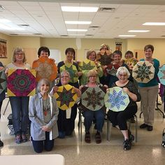 Happy quilters after my Parfait workshop at the Bits and Pieces quilt guild! This pattern is in my Kaleidostars book. Parfait, Quilt Blocks, Workshop, Student, Quilts, Photo And Video, Book, Happy, Pattern