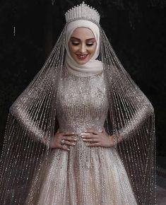 Sparkly Muslim long sleeve sequins Wedding Gown with cou. Sparkly Muslim long sleeve sequins Wedding Gown with cour train Tesettür Modelleri Hijabi Wedding, Wedding Robe, Muslimah Wedding Dress, Muslim Wedding Dresses, Sequin Wedding, Muslim Brides, Bridal Dresses, Bridesmaid Dresses, Muslim Women
