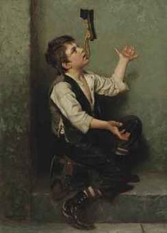"""""""The Juggler"""" (1882), by English-born American artist - John George Brown (1831-1913), Signed and dated 'J.G. Brown. N.A./1882', (lower left), Oil on canvas, 23 3/4 x 17 in. (60.3 x 43.2 cm.), Kennedy Galleries, Inc., New York, Anderson Bouchell, by 1968, Private collection, CHRISTIE'S The Art People."""