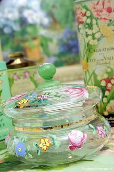 Vintage Home - Hand Painted Roses Glass Powder Bowl.