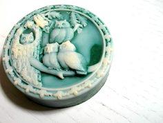 OWL SOAP, Emerald Owl Quartet Soap, Scented in Spearmint Eucalyptus, Handmade, Vegetable Based. $7.00, via Etsy.
