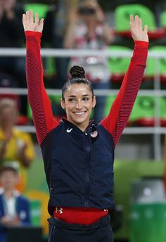 #RIO2016 Silver medalist Alexandra Raisman poses during the medal ceremony for the Women's Individual AllAround Final on day 6 of the Rio 2016 Olympic Games...