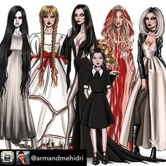 Samara, Annabelle, Morticia & Wednesday Addams, Carrie & Tiffany, Chucky's Bride Fashion Design Drawings, Fashion Sketches, Art Sketches, Fashion Illustrations, Halloween Kunst, Halloween Costumes, Halloween 2018, Horror Icons, Horror Art