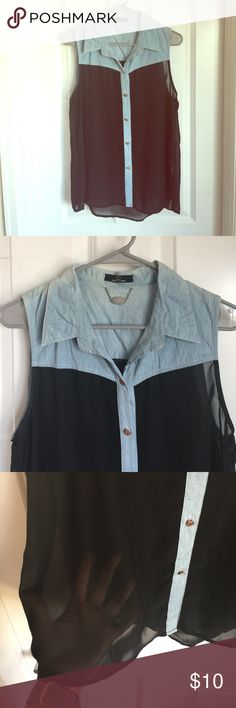 Sheer Black Button Up Sheer black button up with rose gold buttons. Light blue faux denim on top & down the center buttons. Light blue portion also has color variation. Perfect Top to go out in! Tops Button Down Shirts