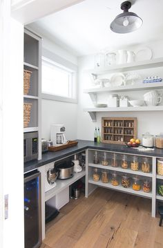 Butlers Pantry - Microwaves - Ideas of Microwaves - Butler pantry to hide coffee maker microwaver etc. Butler's Pantry The Lilypad Cottage Kitchen Butlers Pantry, Pantry Laundry Room, Kitchen Pantry Design, Butler Pantry, Kitchen Layout, Microwave In Pantry, Kitchen Ideas, Pantry Cupboard, Pantry Closet