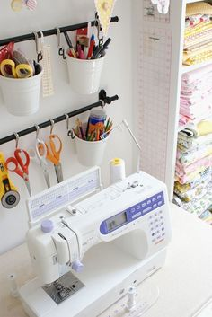 17 IKEA Hacks That'll Answer All Your Craft Storage Woes Upcycle your rails with matching buckets + hooks to store things like your pencils or sewing supplies. Ikea Sewing Rooms, Sewing Room Storage, Craft Room Storage, Paper Storage, Fabric Storage, Storage Ideas, Ikea Storage, Shelving Ideas, Storage Hacks