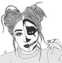 Fabulous Drawing On Creativity Ideas. Captivating Drawing On Creativity Ideas. Tumblr Outline Drawings, Tumblr Girl Drawing, Tumblr Sketches, Cute Girl Drawing, Art Drawings Sketches, Cute Drawings, Drawings Of Girls, Hipster Drawings, Desenhos Halloween