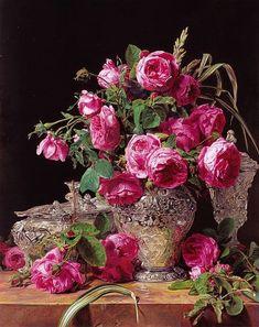 Ferdinand, Flores Art Nouveau, Flower Vases, Flower Art, Cut Glass Vase, Renaissance, Antique Perfume Bottles, Museum, Oil Painting Reproductions