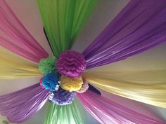 Love this birthday decor. Cheap & easy  Pin up with clear pushpins, dollar store plastic table cloths & home made tissue paper pom poms :0) push pins are the key!!