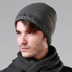 Winter fleece beanie hat for men warm knit hats outdoor wear Mens Knit Beanie, Knit Hat For Men, Hat For Man, Knit Hats, Beanie Hats, Outdoor Wear, Love Hat, Black And Grey, Knitting