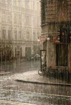 Rain And Thunder Sounds, The thunder rumbles across the jagged landscape., Rain pelts down on the street in an even rhythm. Rain Photography, Street Photography, Color Photography, White Photography, Photography Ideas, Rainy Day Photography, Travel Photography, Rainy Street, I Love Rain