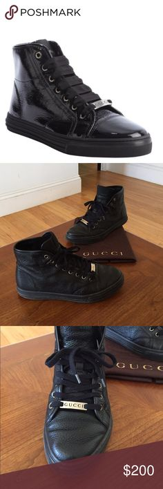 GUCCI Black Leather Hi Top Sneakers Sz 8.5 Guaranteed Authentic. Org retail: $700. In very good condition; comes with dust bag. Black pebbled leather body, with front metal logo plate. No inside sole. Faint wear on the bottom soles. Faint creasing on the body. Size marked a 5.5G; fits an 8.5-9. 1st photo for reference only. NO TRADES. Open to offers through the offer button ☺ Gucci Shoes Sneakers