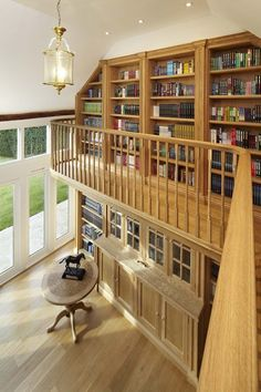 mezzanine loft home office traditional with library cuckoo clocks Living Room Modern, Home Living Room, Mezzanine Loft, Classic Living Room, Home Office Chairs, Loft House, Hamptons House, New House Plans, Trendy Home