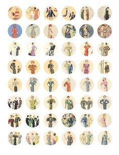 Flapper Girl 1920s to 30s fashion ladies clothes clip art COLLAGE SHEET 1 inch circles. $2.50, via Etsy.