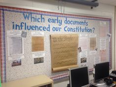 Civics bulletin board based upon VA SOL CE.2b. Documents that influenced the Constitution.