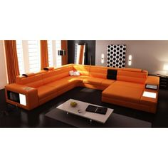 Polaris Contemporary Orange Leather Sectional Sofa Sectional Sofas