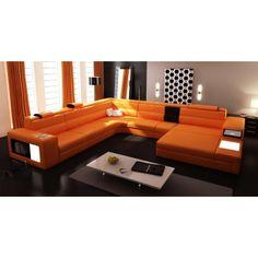 Polaris Contemporary Orange Leather Sectional Sofa Sectional Sofas