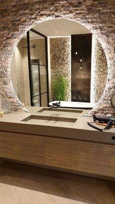 Bathroom Design Luxury, Modern Bathroom Design, Modern Large Bathrooms, Modern Bathroom Mirrors, Bathroom Designs, Home Room Design, Home Interior Design, Industrial Bathroom, Dream Bathrooms