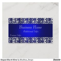 Elegant Blue & Silver Business Card Holiday Cards, Christmas Cards, Business Names, Christmas Card Holders, Hand Sanitizer, Business Card Design, Blue And Silver, Keep It Cleaner, I Shop