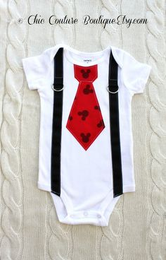 Mickey Mouse Birthday Tie and Suspender Bodysuit.  Baby Boy First Birthday Party Outfit Disney Style Clothing.  Christmas Holiday Stocking on Etsy, $19.00