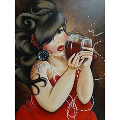 DPF diamond embroidery Drink red wine woman diamond painting cross stitch crafts diamond mosaic kit rhinestone home decor DIY Princesa Pin Up, Plus Size Art, Fat Art, Illustration Art, Illustrations, Dibujos Cute, Wine Art, Chubby Girl, Isabelle