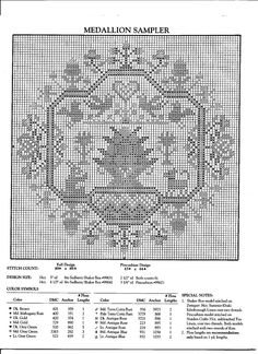 medallion sampler chart with colors