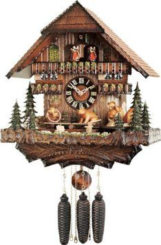 Amazon.com: River City Clocks MD878-16 Eight Day Musical Cuckoo Clock with Dancers, Bears Seesaw And Revolve On Turntable, 16-Inch Tall: Home & Kitchen