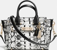 a9bb43ec50 Coach Swagger 20 Light Gold   Black Exotic Python Embossed Leather Carryall