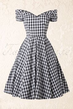 The Pretty Dress Company - 50s Fatale Gingham Swing Dress in Black and White