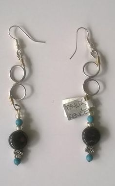 Silver double loop with colour burst earring---TRJ