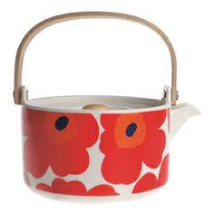 Marimekko Unikko Red Teapot - Crate and Barrel Finland Marimekko, Red Teapot, Perfect Cup Of Tea, Poppy Pattern, Kitchenware, Tableware, Kartell, Kitchen Trends, Japanese Design