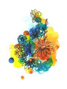 Kess InHouse Sonal Nathwani Blue Orange Floral Abstract Watercolor Round Beach Towel Blanket