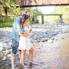 Katelyn Owens got to spend a fun-filled day outdoors picnicking and fishing with this adventurous couple before they hit the road to Alaska. Engagement Couple, Engagement Pictures, Engagement Shoots, Wedding Pictures, Fishing Engagement Photos, Wedding Ideas, Couple Photography, Engagement Photography, Photography Poses