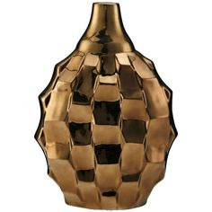 Elements Rippled Ceramic Vase, Bronze found on Polyvore featuring polyvore, home, home decor, vases, bronze, ceramic vase, bronze home decor, metallic vase, ceramic home decor and bronze vase