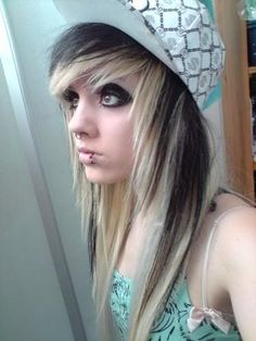 scene hair my family is going to freak when i die my hair like this and cut it like this oh well my choice haha and i was asked by my new friend if i liked scene hair my aunt joyce said i could cut my hair like this haha i love her ^_^