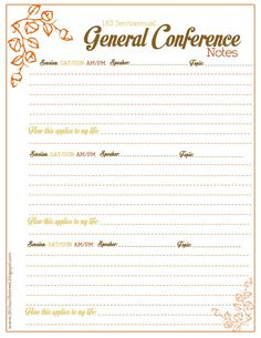 281 Fourth Street: General Conference Notes Printable Sheet