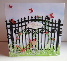 Cricut expression and Heritage cartridge. Memory Box bicycle, grass, ivy tendril, flower mound and butterflies
