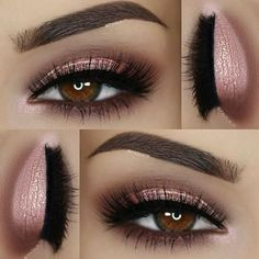 loving metallic tones this season! @paola.11 #pink  #metallic lid cat eye shape, cut crease in brown