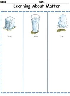 solids and liquids writing lesson | Science Lesson-Matter (Solids Liquids Gases) - Christina P ...