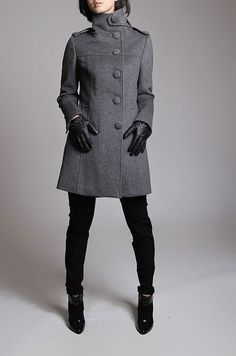 Winter Gray coat/ grey overcoat with long sleeves/ maxi by JulyS