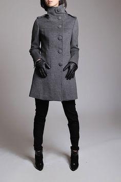 Winter Gray coat/ grey overcoat with long sleeves