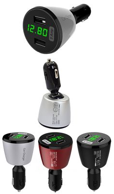 Dual USB Port 5 Amp Rapid Car Charger Green LED Display-Displays Voltage, Amps & Internal Temperature For Apple iOS, Android & Virtually All Other USB Compatible Devices