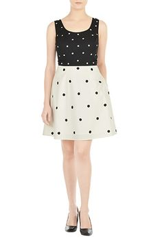 Embellished Polka Dot Two-Tone Dress by eShakti