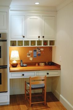 turn small kitchen counter space into desk