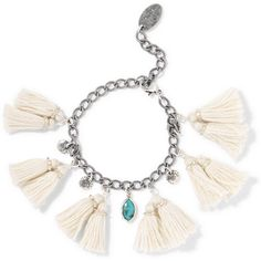 Chan Luu Tasseled silver and turquoise bracelet (20.205 RUB) ❤ liked on Polyvore featuring jewelry, bracelets, white, handcrafted jewelry, silver charms, cream jewelry, green turquoise jewelry and silver jewelry