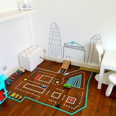 Washi tape is certainly the crafting supply du jour, and we've seen plenty of cute DIY projects that use it. But this is the first car track we've seen washi-taped right to the floor! Washi Tape Diy, Masking Tape, Washi Tapes, Mt Tape, Diy For Kids, Crafts For Kids, 4 Kids, Casa Kids, Cute Diy Projects