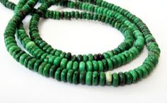 Green Rondelle Beads Green Chinese Turquoise Beads by BijiBijoux