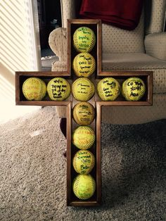 Softball Cross Shadow box display by TuckerCabinetry on Etsy Senior Softball, Softball Party, Softball Gifts, Softball Quotes, Softball Pictures, Softball Players, Girls Softball, Fastpitch Softball, Softball Stuff